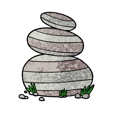 Cartoon large stacked stones illustration on white background.