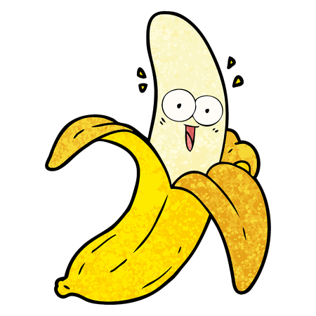 Cartoon crazy happy banana illustration on white background.
