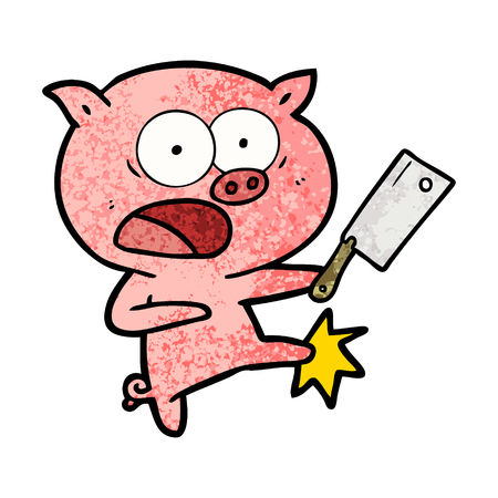 Cartoon pig shouting and kicking illustration on white background.