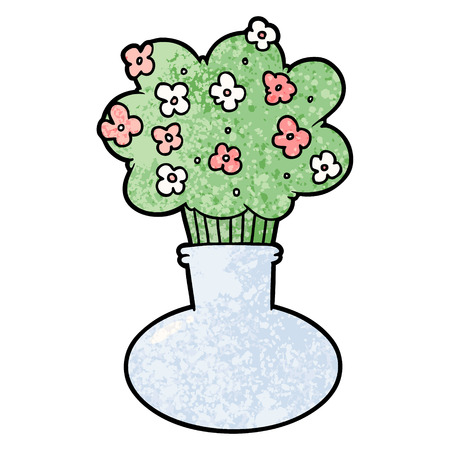 Cartoon flowers in vase vector illustration Çizim