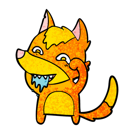 Hungry fox cartoon character illustration on white background. Illustration