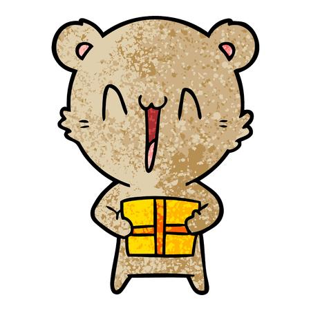 Hand drawn happy bear with gift cartoon