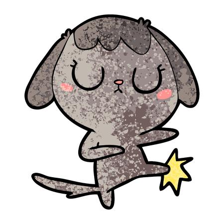 Cute cartoon dog kicking