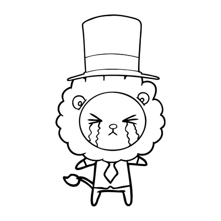 Hand drawn cartoon crying lion wearing shirt and tie