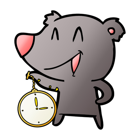Laughing bear cartoon with pocket watch illustration on white background.