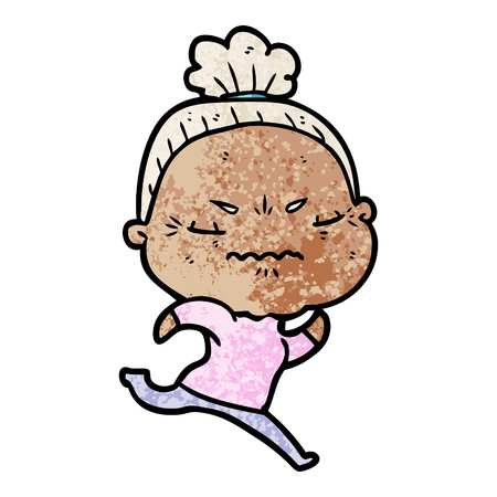 Hand drawn cartoon annoyed old lady Standard-Bild - 95853563