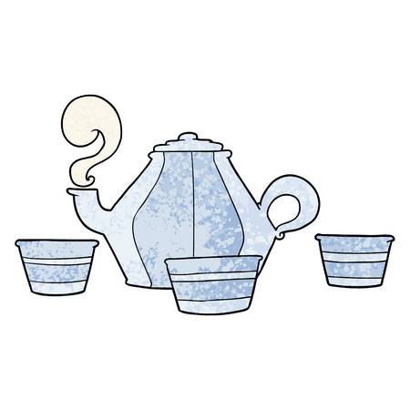 Hand drawn cartoon teapot and cups