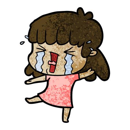 Hand drawn cartoon woman in tears