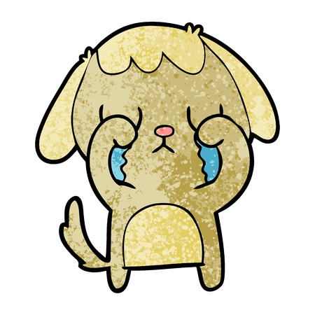 Cute cartoon dog crying illustration on white background.