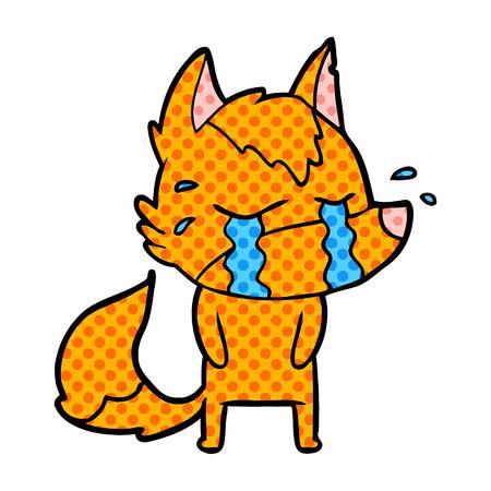 Fox cartoon character sobbing Illustration