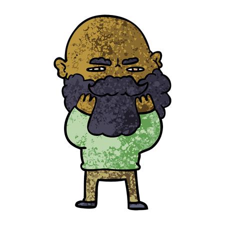 Hand drawn cartoon man with beard frowning checking his beard Illusztráció