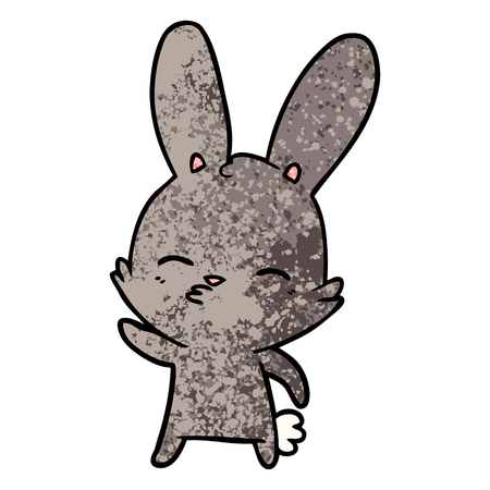 Hand drawn curious bunny cartoon 일러스트