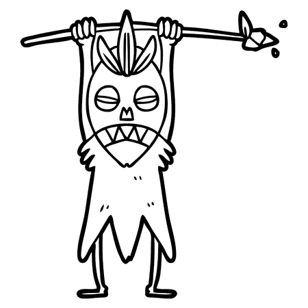 Hand drawn cartoon cannibal shaman