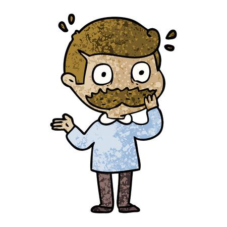 口ひげショックベクターイラストを持つ漫画の男  イラスト・ベクター素材