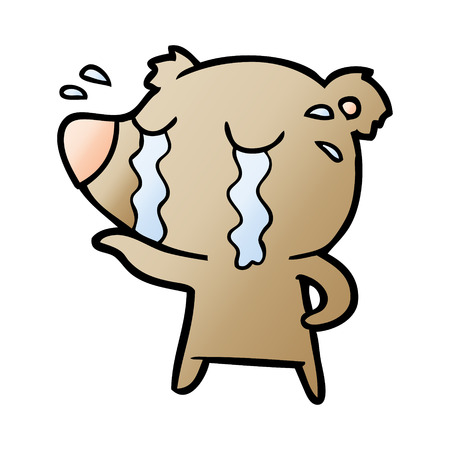 Hand drawn crying bear cartoon character  イラスト・ベクター素材