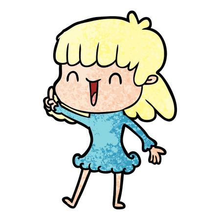 Cartoon cue woman illustration on white background.