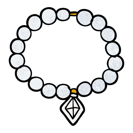 Cartoon pearl necklace illustration on white background.