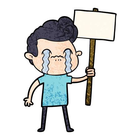Cartoon man crying holding sign Иллюстрация