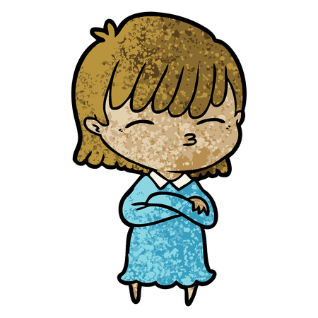 Cartoon woman crossed arms Stock Vector - 95826649
