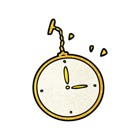 手描き漫画の懐中時計  イラスト・ベクター素材
