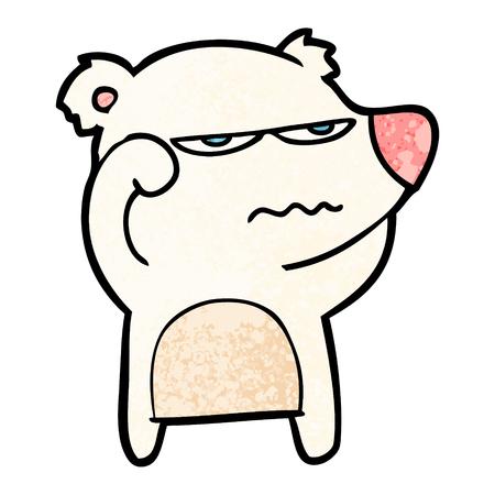 Angry bear polar cartoon illustration on white background.