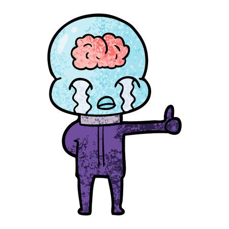 Cartoon big brain alien crying but giving thumbs up symbol Ilustração