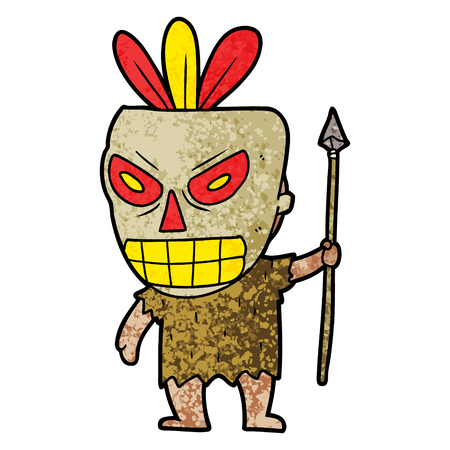 Cartoon cannibal shaman vector illustration
