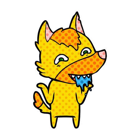 Fox cartoon character hungry