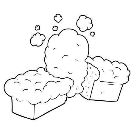 Freshly baked bread cartoon 向量圖像