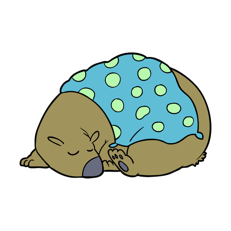 Sleeping bear cartoon character vector illustration Ilustração