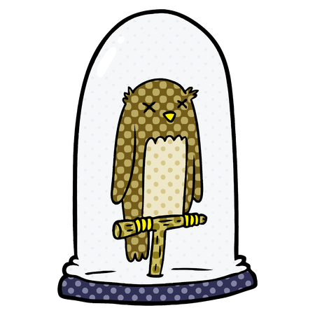 Cartoon stuffed owl inside a glass