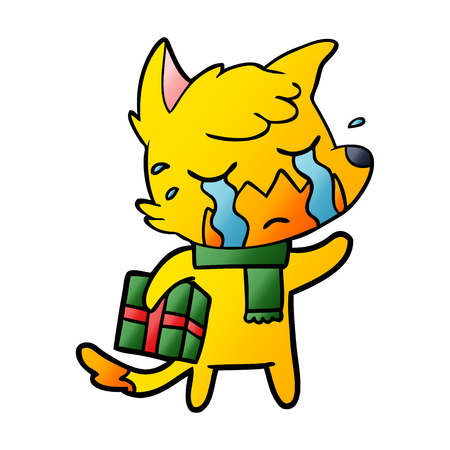 Crying fox cartoon character with present