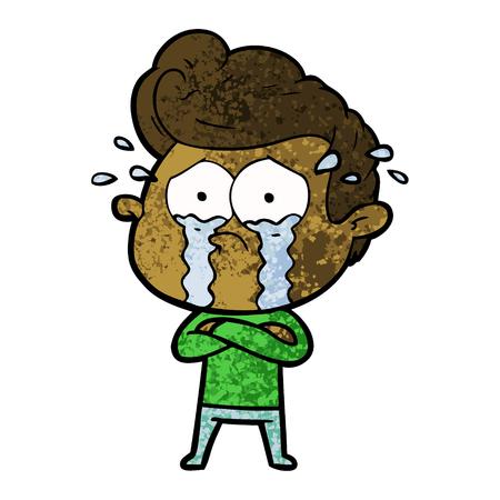 手描き漫画泣く男