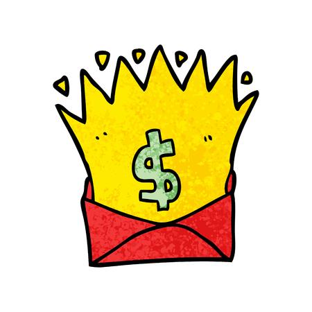 Cartoon envelope with money sign