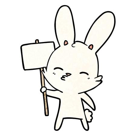 Curious bunny cartoon with placard Иллюстрация