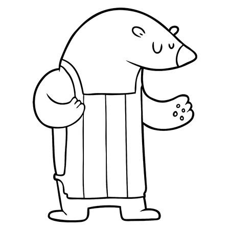 Hand drawn cartoon polar bear chef