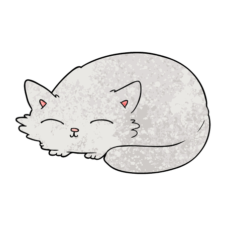 Hand drawn cartoon cat sleeping