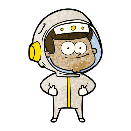 Hand drawn happy astronaut cartoon