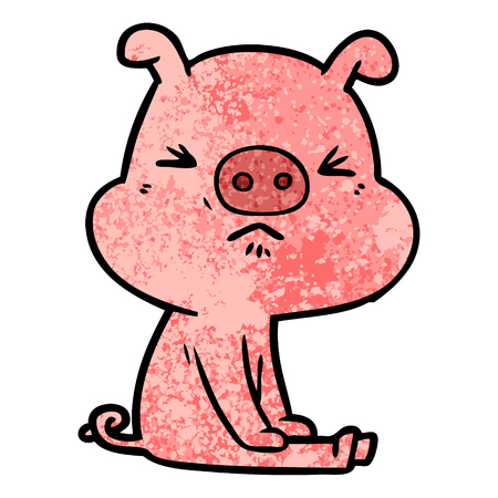 Hand drawn cartoon angry pig sat waiting Ilustrace