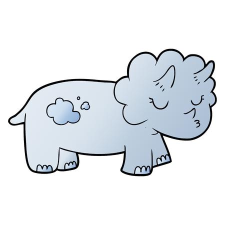 Hand drawn cartoon triceratops