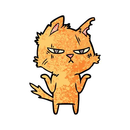 Hand drawn tough cartoon cat