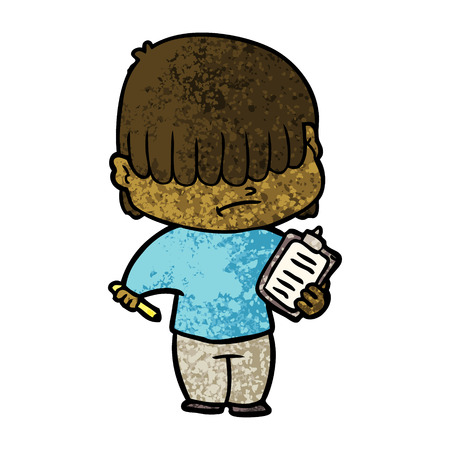 Cartoon boy with untidy hair illustration on white background. Illustration