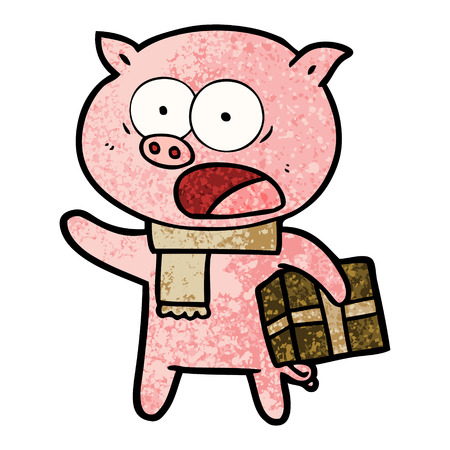 Cartoon pig with Christmas present illustration on white background.