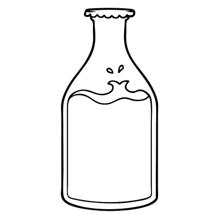 Hand drawn cartoon milk bottle