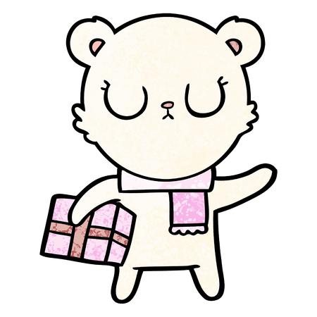 Hand drawn peaceful cartoon polar bear with Christmas gift