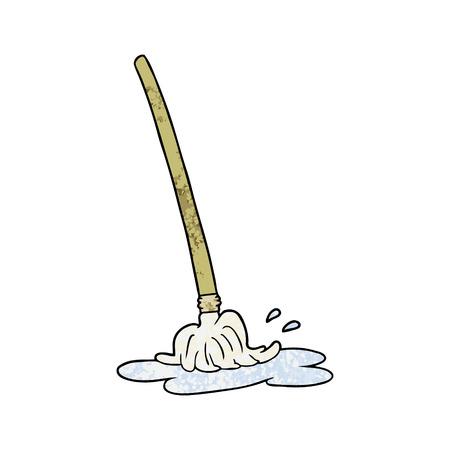 濡れた漫画のモップ  イラスト・ベクター素材