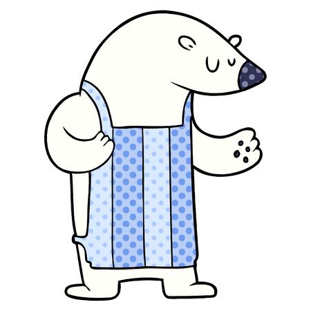 cartoon polar bear chef 向量圖像