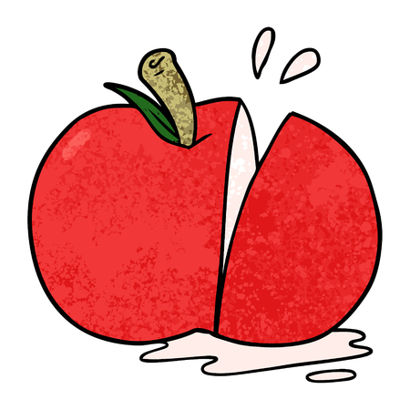 Hand drawn cartoon sliced apple