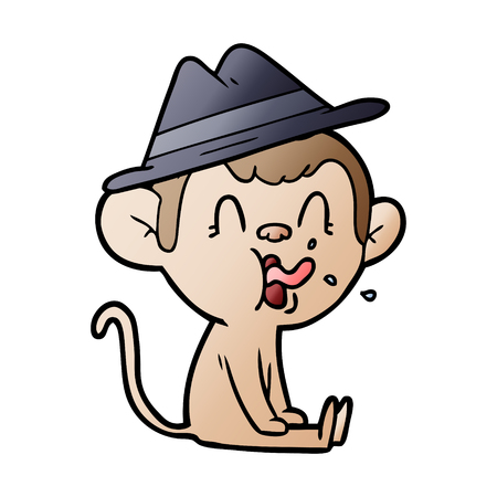 Hand drawn crazy cartoon monkey sitting