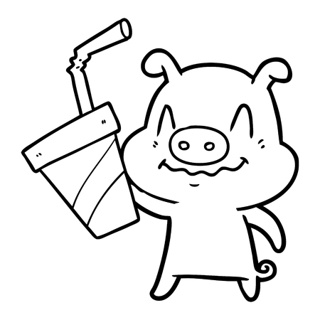 Hand drawn nervous cartoon pig with huge soda